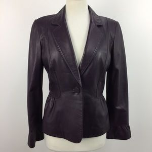 Tahari Purple One Button Leather Sports Blazer